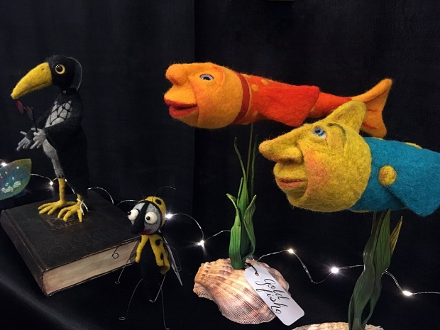 Bird, bug and goldfish made from felt
