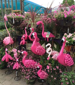 Metal flamingos of different shapes and sizes