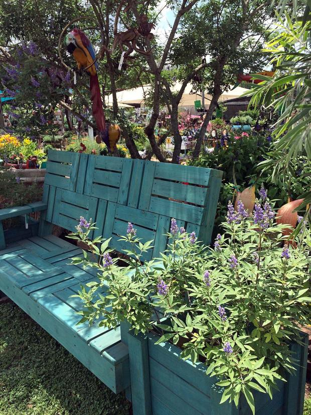 Heavy garden bench with planter painted teal