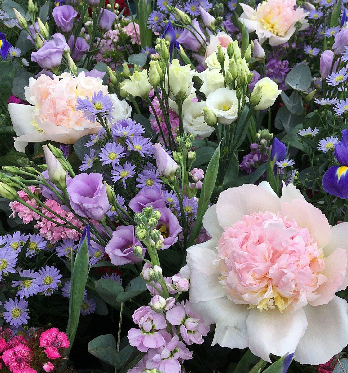 Peonies, lisianthus, asters, irises, stocks