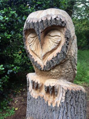 Owl carved by chainsaw artist Angel Maltby