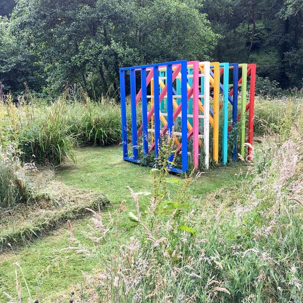 Anatomy of Colour sculpture in a meadow at Broomhill Sculpture Garden