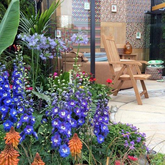 Blue delphiniums in the Jungle Fever Garden, Tatton Park Flower Show