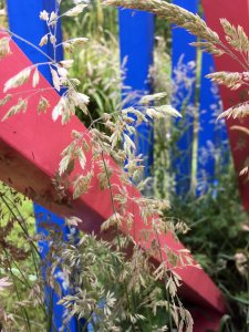 Pink and blue framework in a meadow
