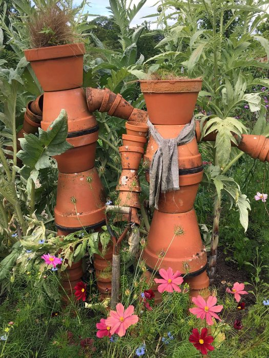 Flowerpot men in the kitchen garden at RHS Rosemoor