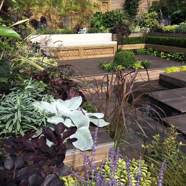 Not Too Shabby Chic Garden had chocolate coloured plants and flooring