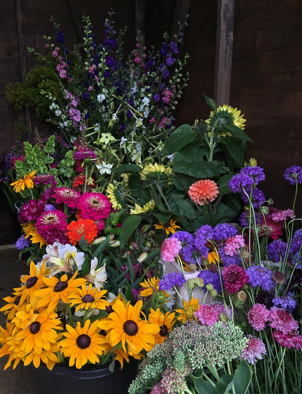 Petal & Twig's shed packed with flowers from their Southport cutting garden