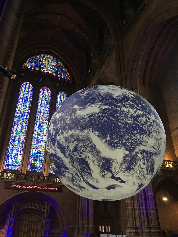 Gaia, a seven metre diameter globe, suspended in Liverpool Anglican Cathedral