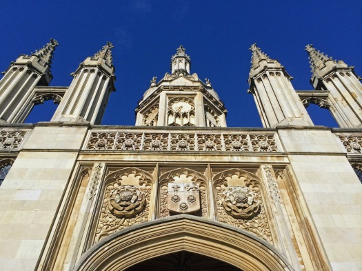 Looking upwards at King's College Cambridge Entrance