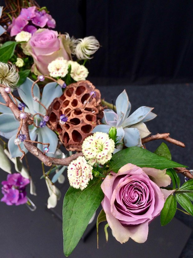 Rose, dianthus, succulent, hydrangea and seed heads