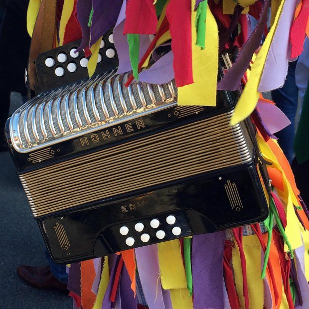 Hohner Erica button accordion carried by a morrisman