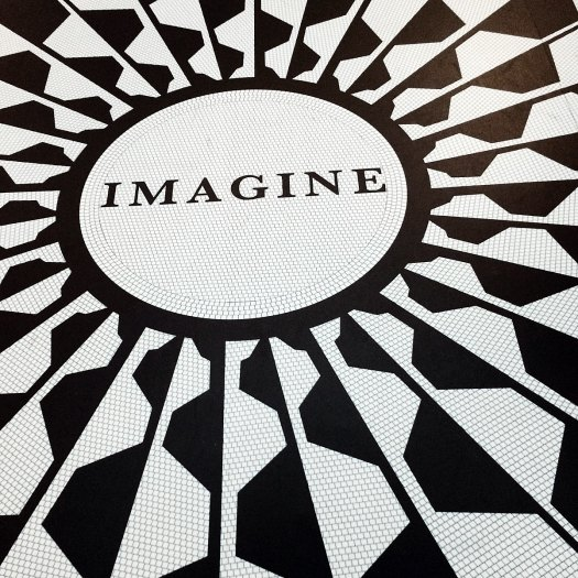 Mosaic with the word 'Imagine'