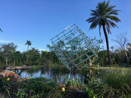 Large glass cube by Fräbel at Naples Botanical Garden