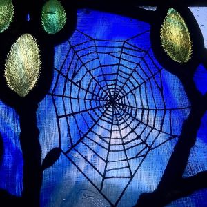Spider's web and pussy willow stained glass