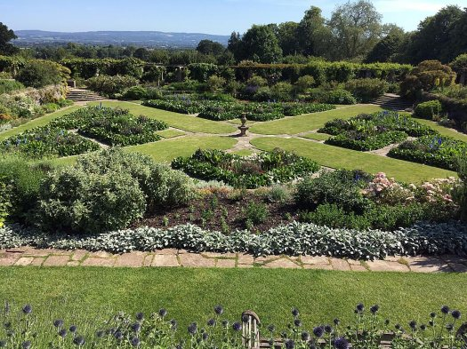 A sunken garden with four quadrants