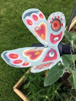 Recycled butterfly yard art