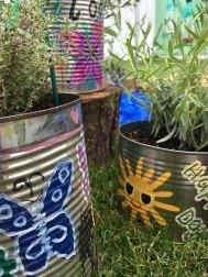 Butterfly, sun and flower flower planter designs