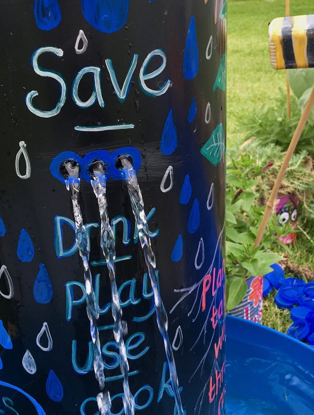 School garden water feature with conservation messages