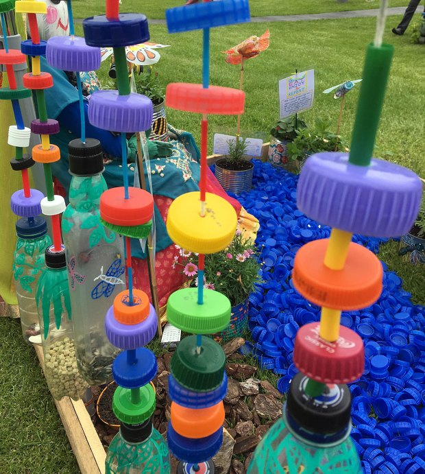 Row of hanging shakers made from recycled plastic