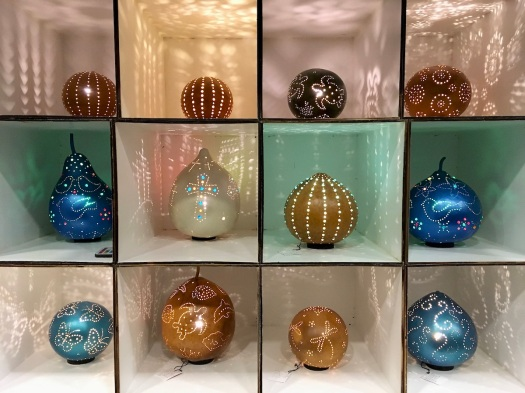 Gourd luminaries with bird, butterfly and turtle pinholes