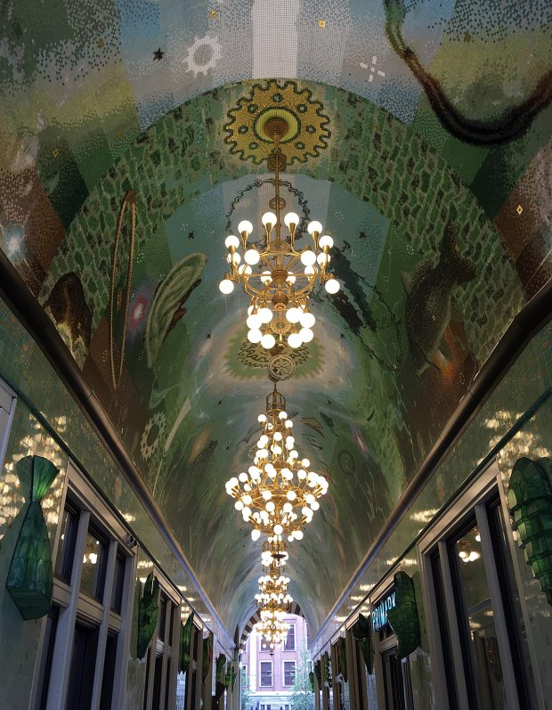 Passage with arched ceiling with mosaic design