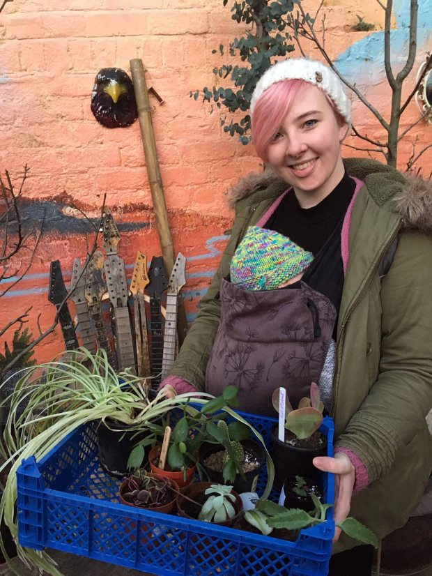 Mum with plants and baby at Sheffield PlantSwap
