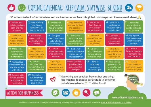 Action for Happiness coping calendar