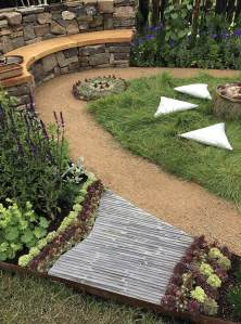 A ridged path edged with succulents