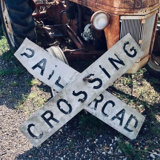 Rail road crossing sign