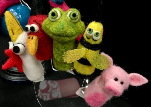 Frog, birds, wasp and pig finger puppets
