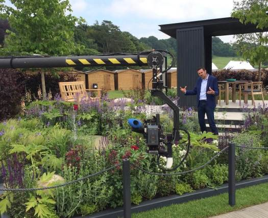 Adam Frost filming at the RHS Chatsworth Flower Show 2018