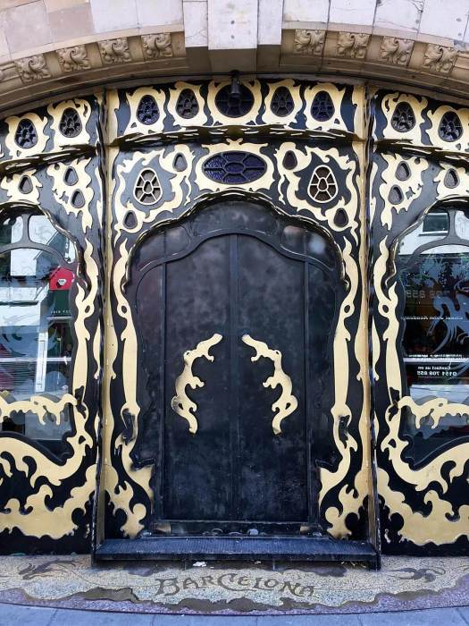 Barcelona Bar has a black and gold Gaudi theme