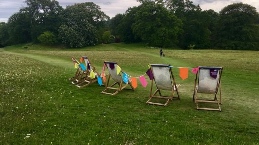 Meadow walk with deckchairs and bunting