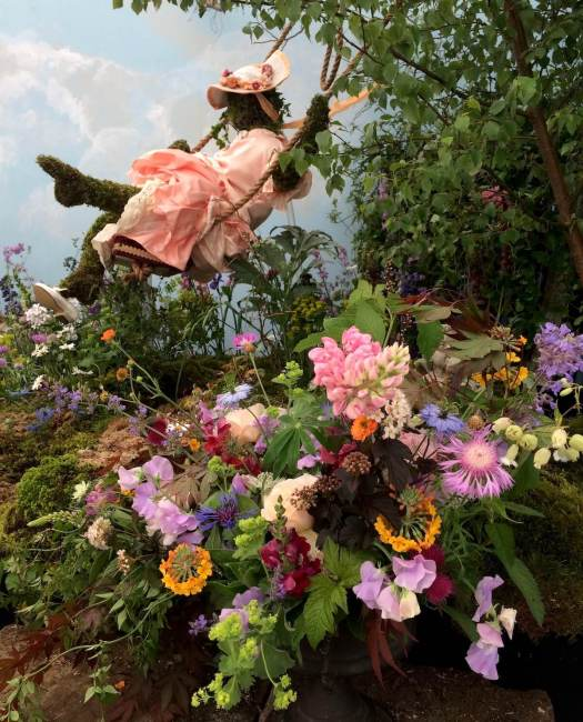 Floral recreation of The Swing by Fragonard