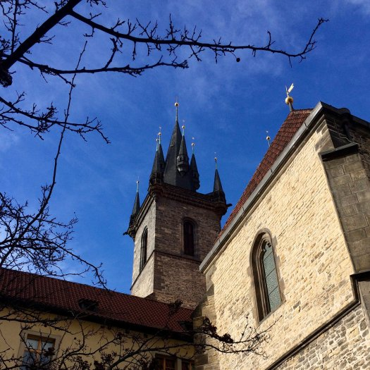 Side view of a gothic tower on the Church of Our Lady Before Tyn, Prague