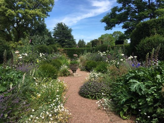 Sinuous gravel path through a flower garden
