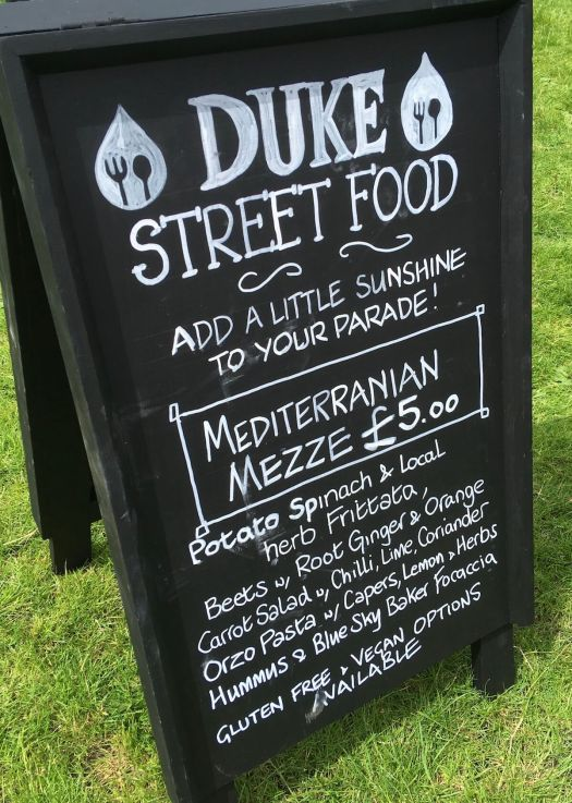 Duke Street Food sign for Mediterranian Meze