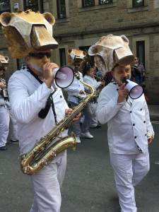 Musicians with megaphones at Handmade Parade