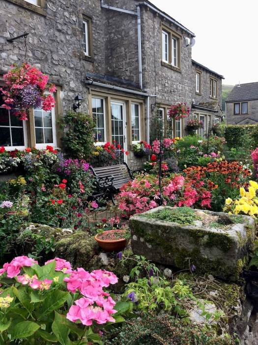 Colourful cottage garden, packed with flowers