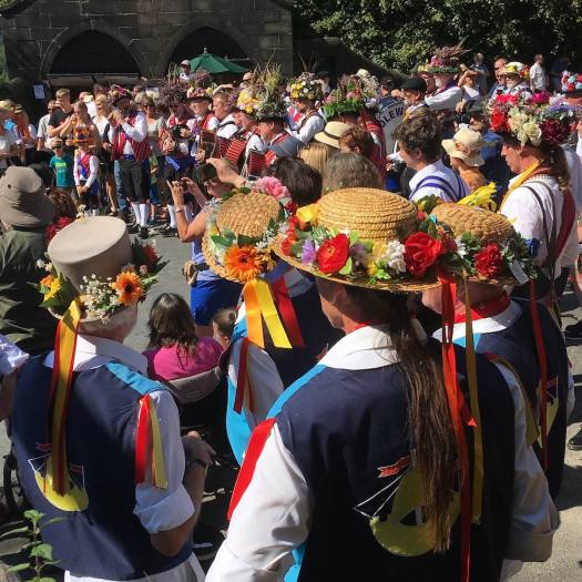 Flower hats in the Saddleworth Rushcart crowd