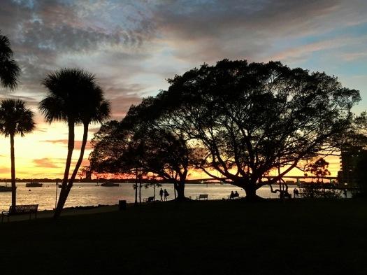 Sarasota Bayfront Park at sunset