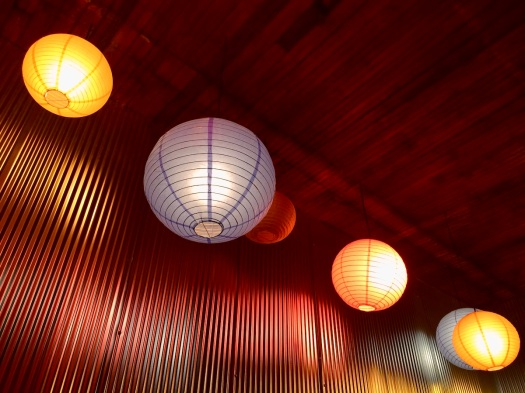 Coloured paper ceiling lights