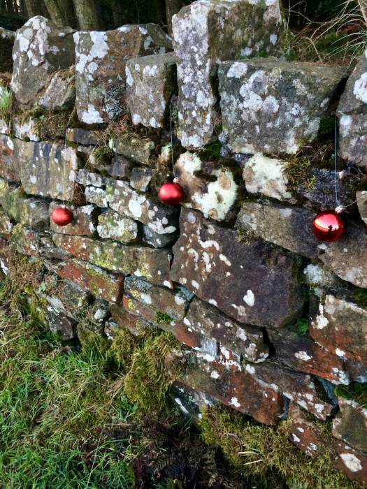 Red Christmas baubles hung on a dry stone wall