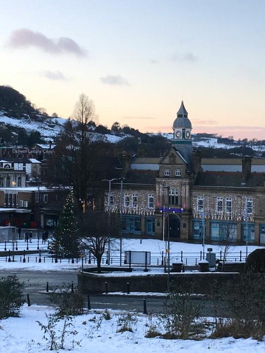 Darwen market in the snow