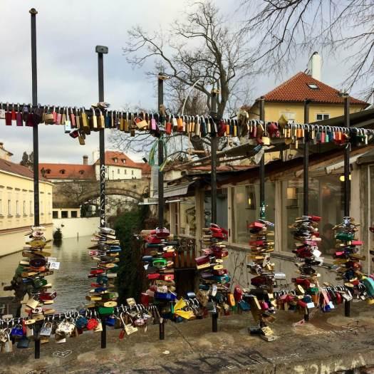 Love locks on a bridge in Prague