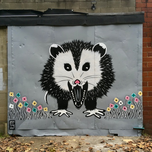 Artwork of possum and flowers in Jackson MS