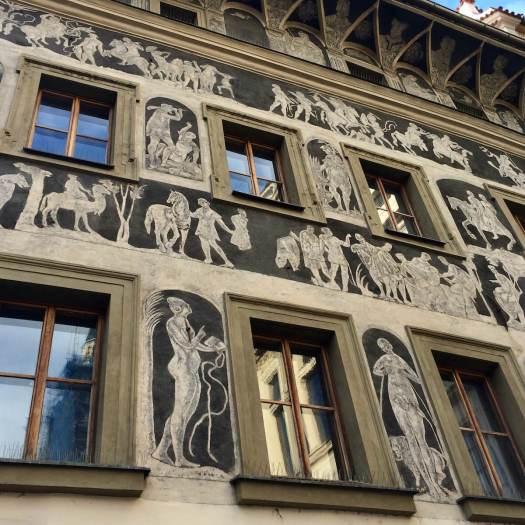 Sgraffito of biblical and mythological scenes, Prague