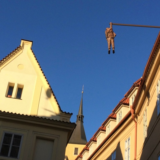 Sigmund Freud hangs from a roof by David Cerny