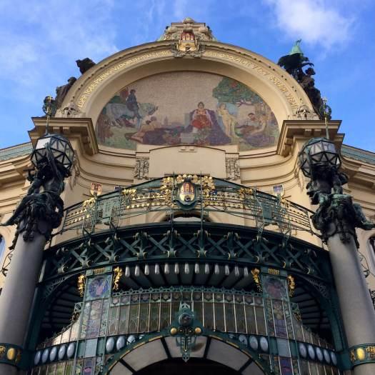 Art Nouveau entrance to Smetana Hall, Prague