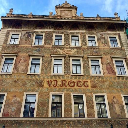 Gold fronted VJ Rott building in Prague